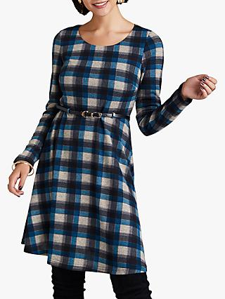 Yumi Check Long Sleeve Skater Dress