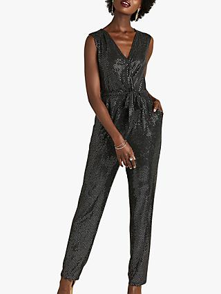 Yumi Sequin Party Jumpsuit, Silver