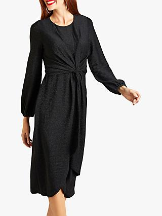 Yumi Twist Metallic Dress, Black