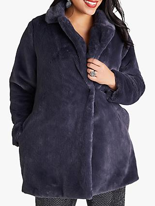 Yumi Curves Fur Collar Jacket, Grey