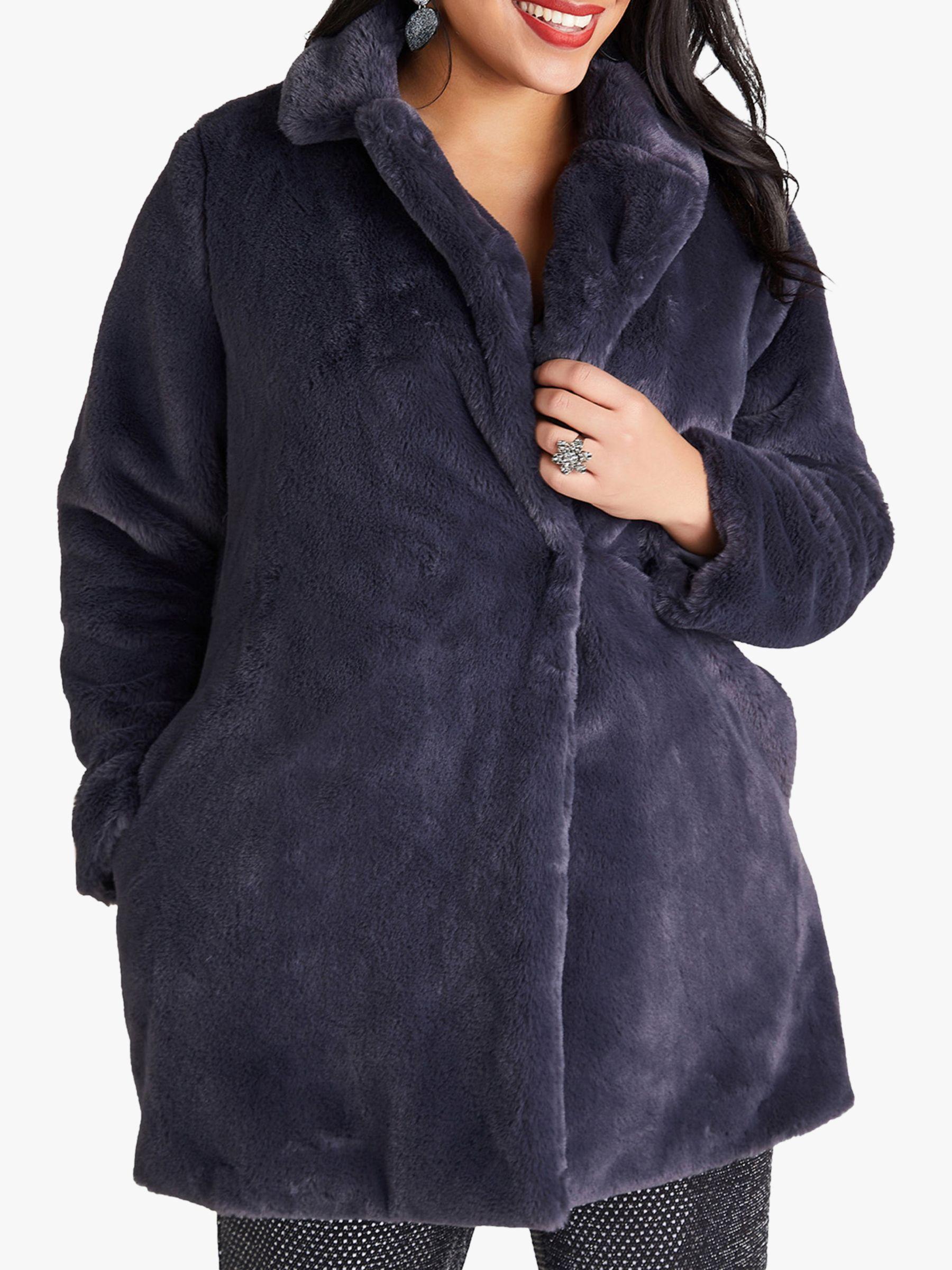 Yumi Curves Yumi Curves Fur Collar Jacket, Grey