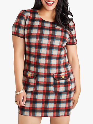 Yumi Curves Button Pocket Check Tunic, Multi