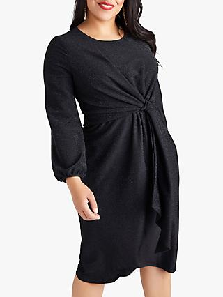 Yumi Curves Twist Knot Lurex Party Dress, Black