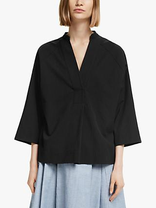 Kin Textured Grown On Sleeve Top, Black