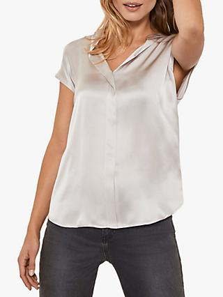 Mint Velvet Silk V-Neck Top, Neutral