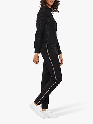 Mint Velvet Sequin Metallic Bead Joggers, Black