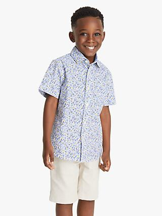 John Lewis & Partners Heirloom Collection Boys' Floral Cotton Shirt, Multi
