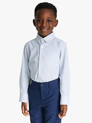 John Lewis & Partners Heirloom Collection Boys' Fine Stripe Shirt, Light Blue