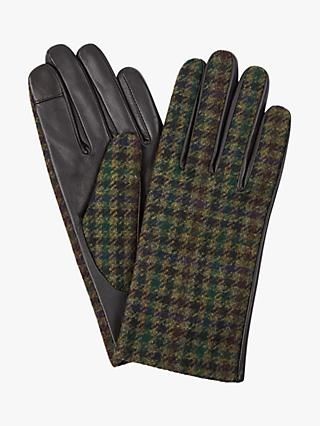 Hobbs Emma Checked Leather Gloves, Green Check