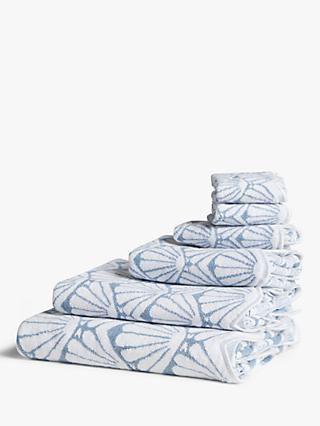 John Lewis & Partners Scallop Shell Towels, Pale Pacific