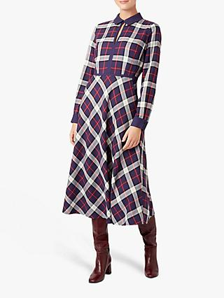 Hobbs Stella Check Midi Dress, Navy/Multi