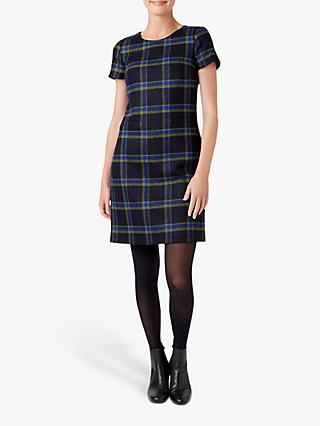 Hobbs Riley Wool Check Dress, Navy/Green