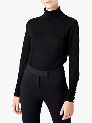 Hobbs Lara Merino Wool Roll Neck Jumper, Black
