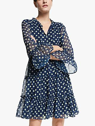 Y.A.S Dotty Mini Dress, Dark Sapphire