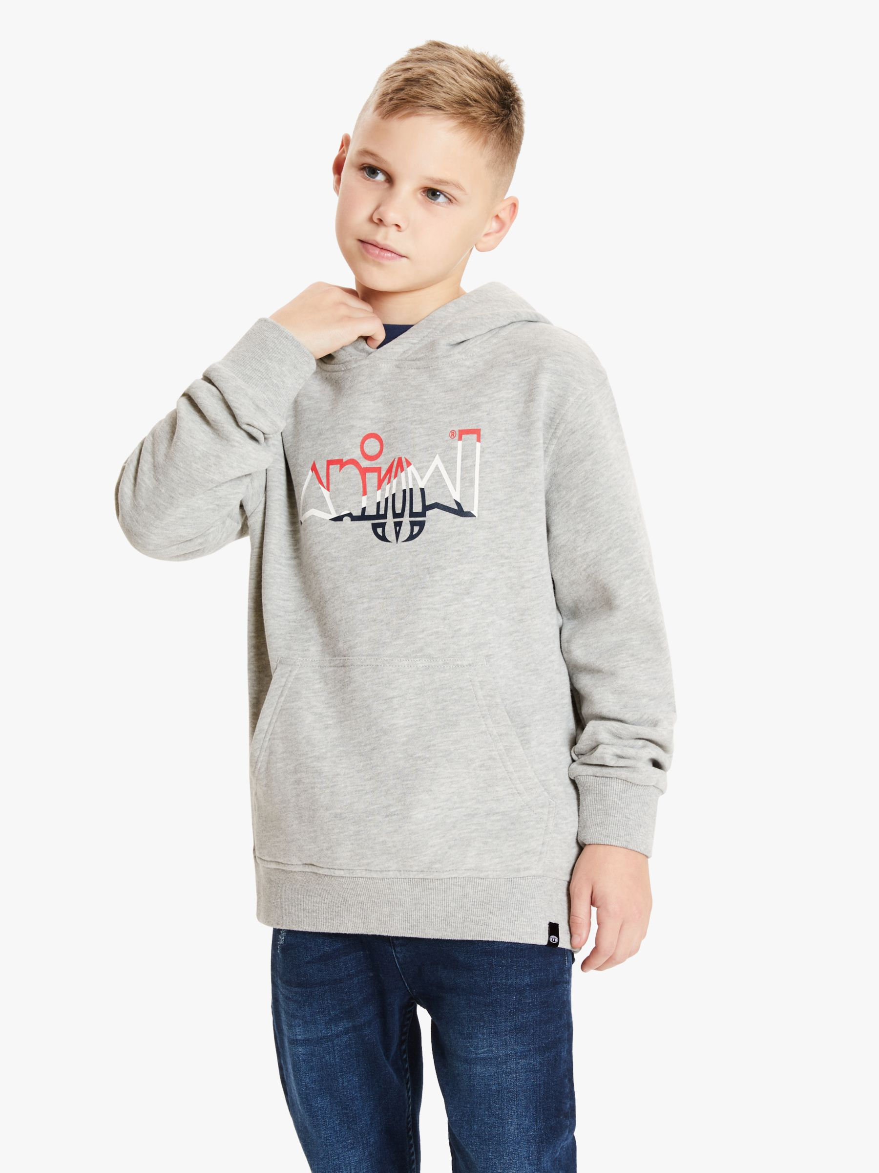 Animal Animal Boys' Ryder Logo Hoodie, Marl Grey