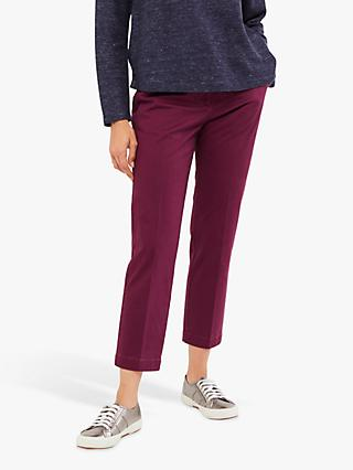 White Stuff Sussex Cotton 7/8 Trousers, Floral Plum Plain