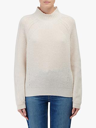 360 Sweater Sophia Rib Turtle Neck Cashmere Jumper, Chalk