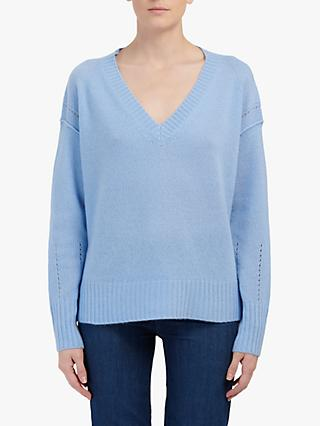 360 Sweater Daria V-Neck Cashmere Jumper, Bluebell