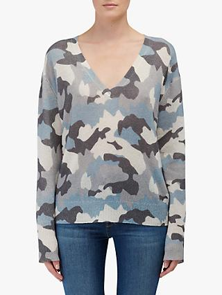 360 Sweater Theo Camo Cashmere Jumper, Chalk/Blue