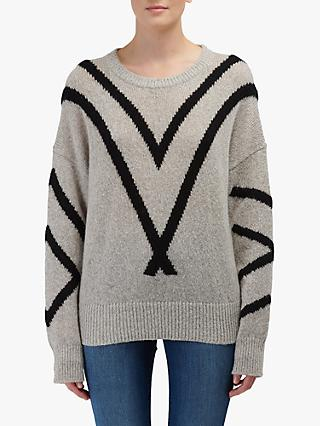 360 Sweater Paulina Diagonal Stripe Cashmere Jumper, Hazel/Black