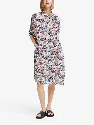 Kin Gyoda Layered Floral Shirt Dress, Black/Multi