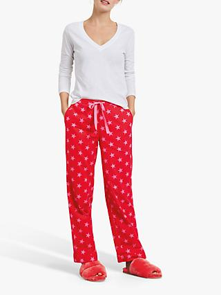 hush Star Flannel Cotton Pyjama Trousers, Red/Pink