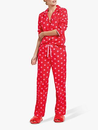 hush Star Cotton Flannel Pyjama Set, Red/Pink