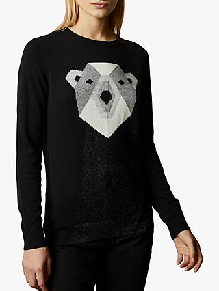 Ted Baker Periiey Cashmere Blend Polar Bear Jumper, Black