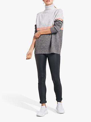 hush Maeve Wool Alpaca Blend Roll Neck Jumper, Grey Marl/Melba
