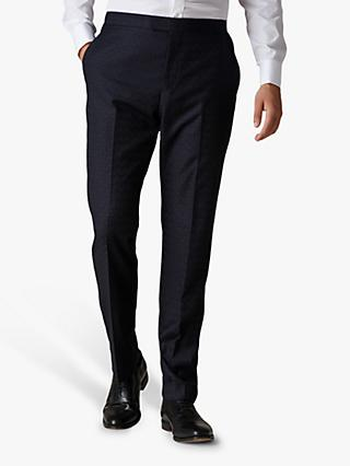 Jaeger Checkerboard Slim Fit Suit Trousers, Navy