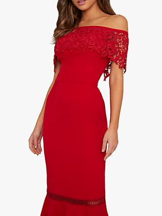 Chi Chi London Alba Lace Bodycon Dress, Red