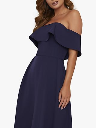 Chi Chi London Yazmina Asymmetric Hem Bardot Dress, Navy