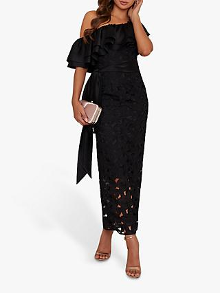 Chi Chi London Arina Crochet Maxi Dress, Black