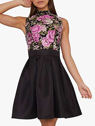 Chi Chi London Sabreen Floral Jacquard Dress, Black
