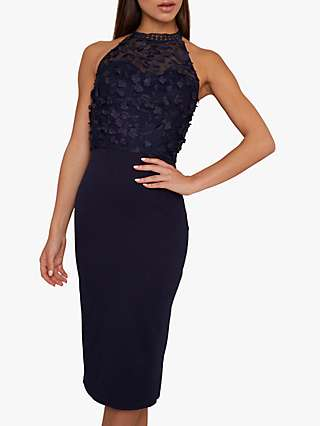 Chi Chi London Eryca 3D Flower Bodycon Dress, Navy