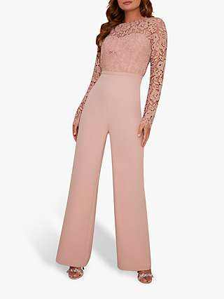 Chi Chi London Arloa Lace Bodice Jumpsuit, Mink