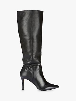 Mint Velvet Vanessa Leather Knee High Boots, Black
