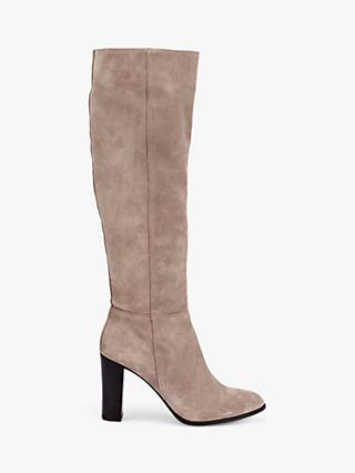 Mint Velvet Faith Suede Knee High Boots, Taupe