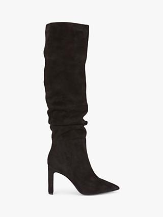 Mint Velvet Amelia Slouch Suede Knee High Boots, Black