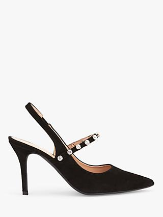Mint Velvet Selina Leather Slingback Stiletto Shoes, Black