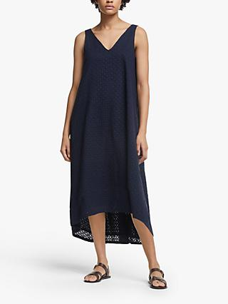 John Lewis & Partners Broderie Dress, Navy
