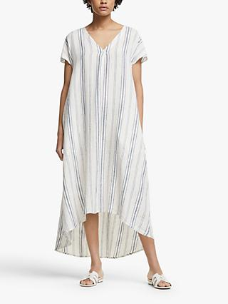 John Lewis & Partners Linen Elliptical Hem Stripe Dress, White/Navy
