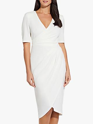 Adrianna Papell Rio Knit Draped V Neck Sheath Dress