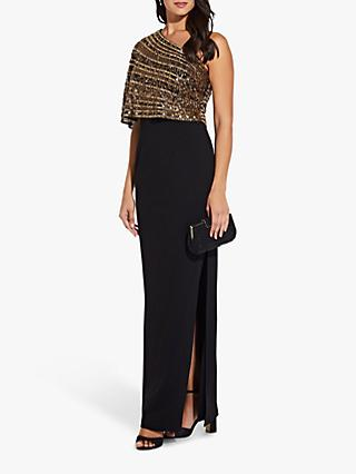 Adrianna Papell Beaded Crepe Dress, Black/Gold