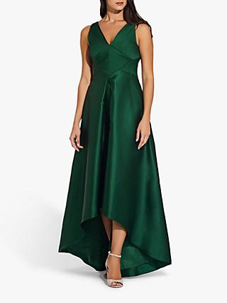 Adrianna Papell Pleated Hi Low Mikado Gown, Dark Forest