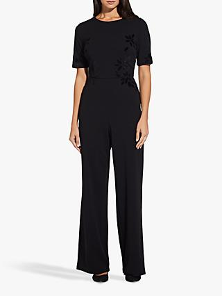 Adrianna Papell Velvet Applique Jumpsuit, Black