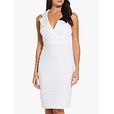 Product photo of Adrianna papell pintuck tuxedo dress ivory