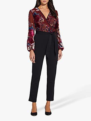 Adrianna Papell Velvet Burnout Jumpsuit, Rose/Multi