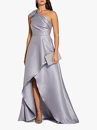 Adrianna Papell Mikado High Low Long Maxi Dress, Silver
