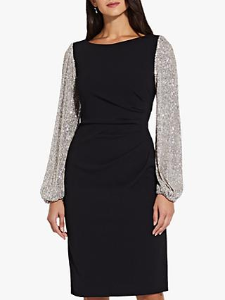 Adrianna Papell Sequin Sleeve Crepe Dress, Black/Silver